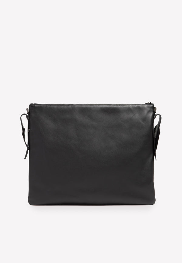 Flat Leather Messenger Bag