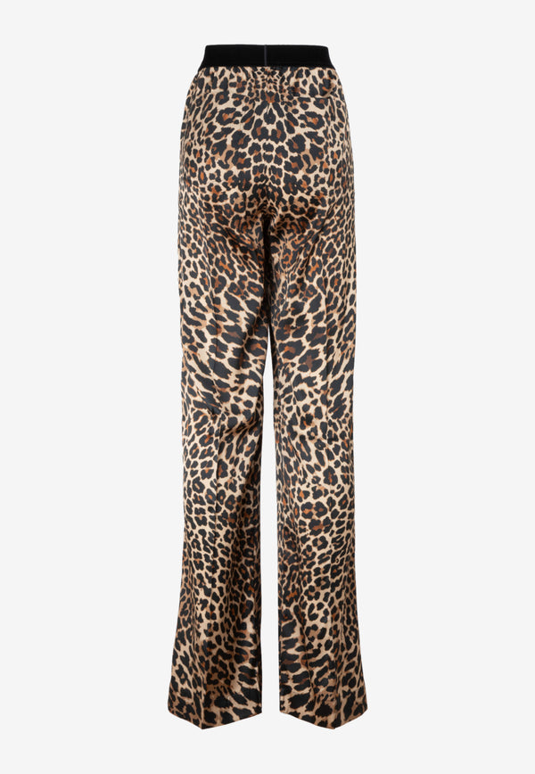 Leopard Print Pajama Pants in Silk blend