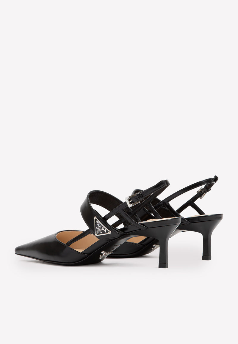 55 Pointed Slingback Pumps in Calfskin