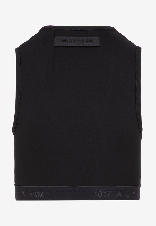 Stretch Cropped Top with Cut-out Details