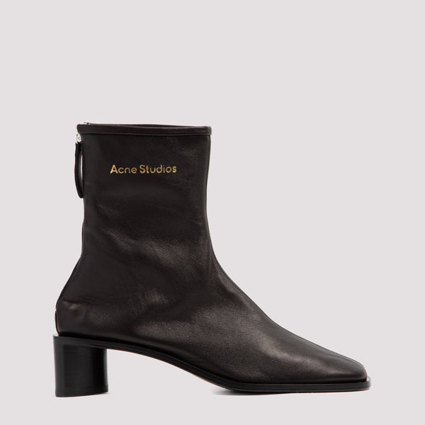 Ankle Leather Boots with Branding Details