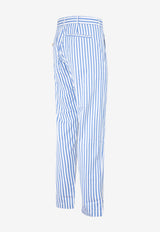 Shirt-style Striped Pants in Cotton
