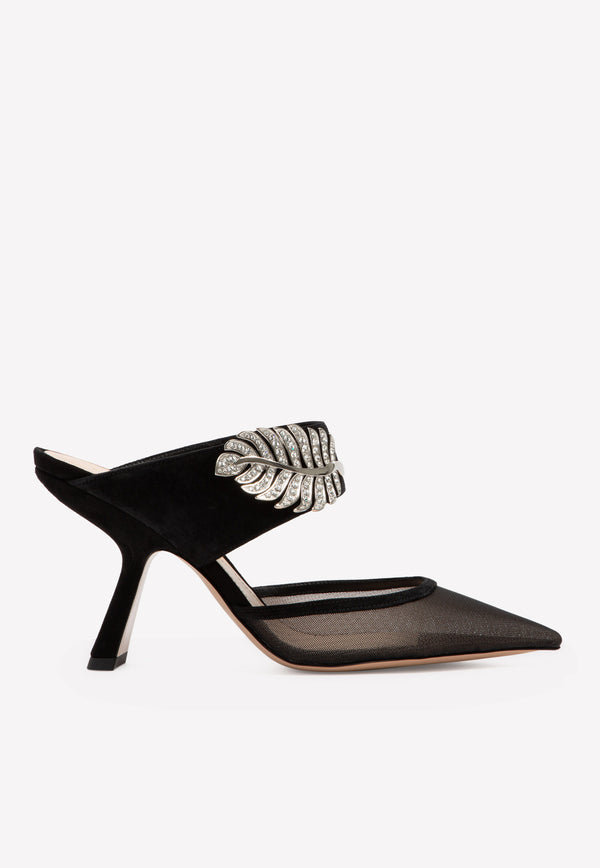 Monstera 90 Crystal Embellated Poined Pointed Mules