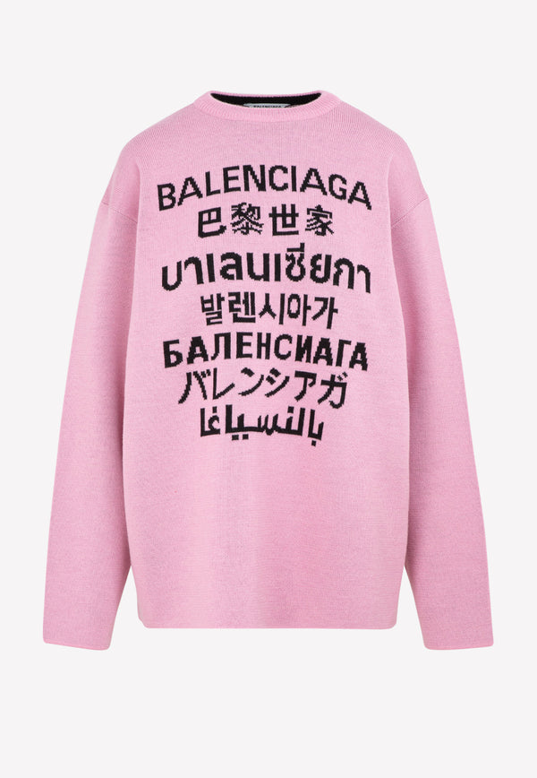 Multilingual Logo Intarsia Wool Blend Sweater