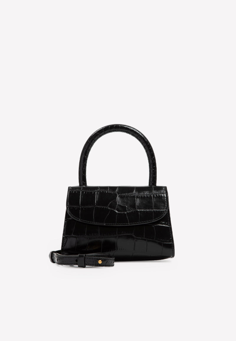 Mini Top Handle Bag in Croc-Embossed Leather
