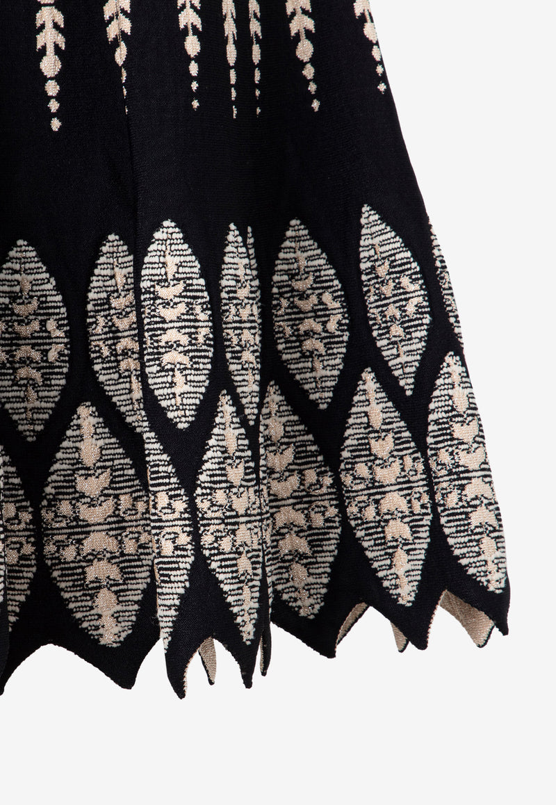 Jacquard Knit Flared Dress
