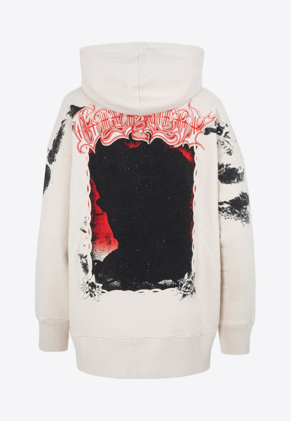 Givenchy Graphic Pint Cotton Sweatshirt with Hood Beige BWJ01Z3Z56-267 CLAY