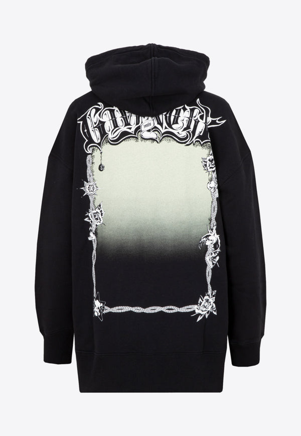Givenchy Oversize Printed Cotton Sweatshirt with Hood Black BWJ01Z3Z57-001 BLACK