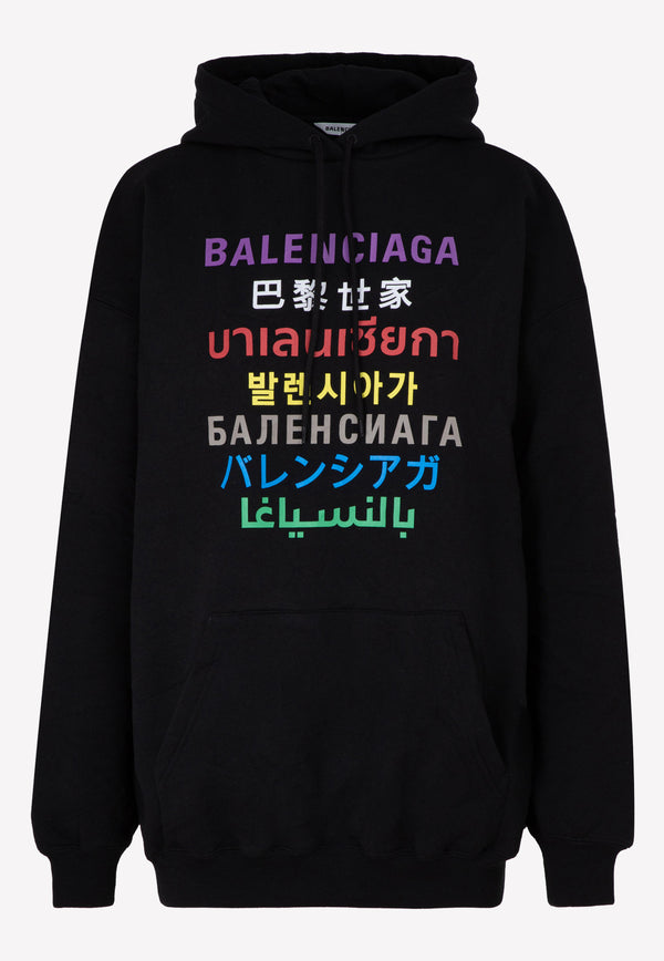 Multilingual Print Oversized Hooded Sweatshirt