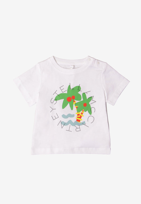 Stella McCartney Baby Palm Sunshine Print Cotton T-shirt White 602270SQJ94WHITE