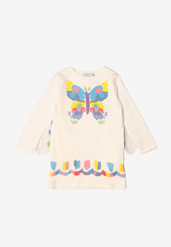 Stella McCartney Girls Butterfly Print Fleece Dress White 602615SQJC6WHITE MULTI