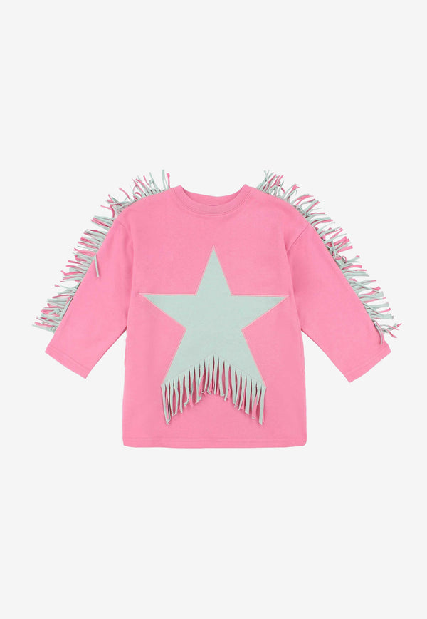 Stella McCartney Girls Star Print Fringed Fleece Dress Pink 602626SQJD8PINK MULTI