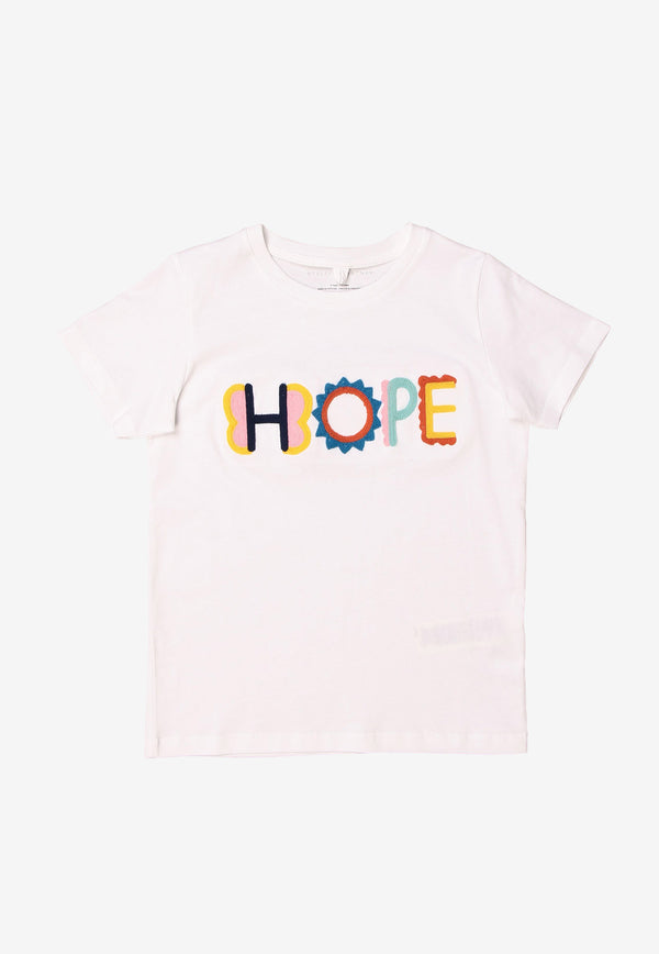 Stella McCartney Girls Crochet Hope Cotton  T-shirt White 602648SQJD9WHITE