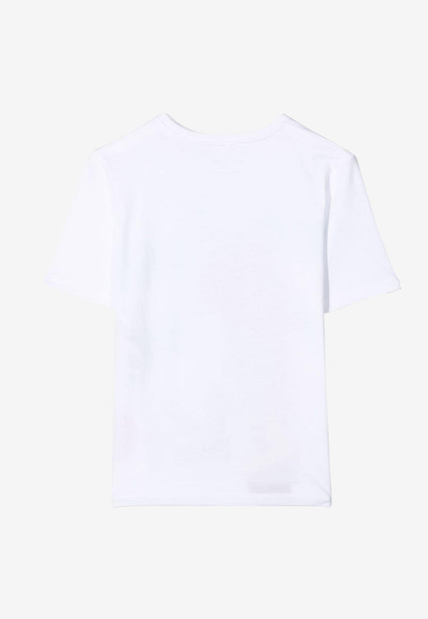 Stella McCartney Girls Palm Print Oversized Cotton T-shirt White 602650SQJA1WHITE