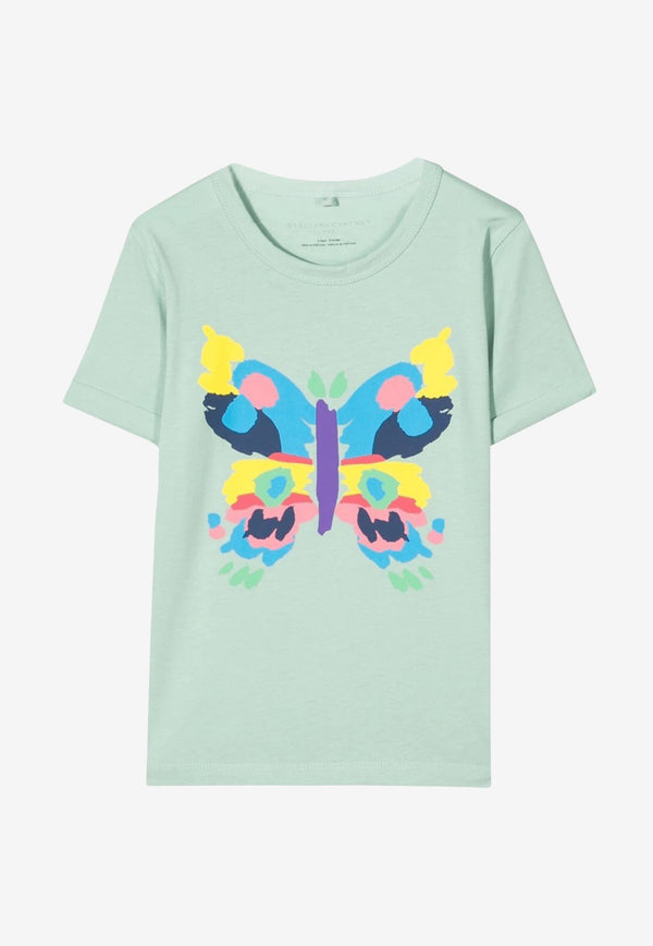 Stella McCartney Girls Butterfly Print Cotton T-shirt Green 602652SQJC2MINT