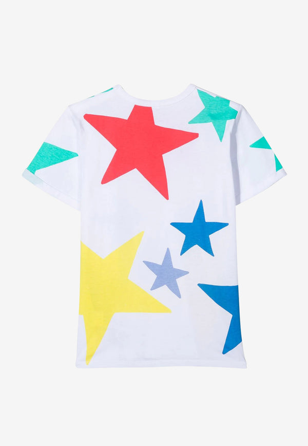 Stella McCartney Girls Star Print Cotton T-shirt White 602652SQJC3WHITE MULTI