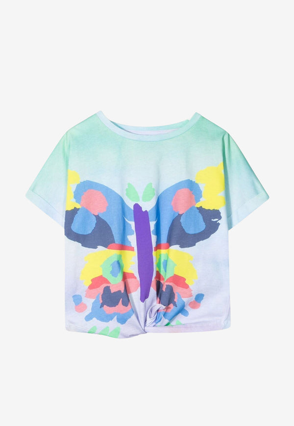 Stella McCartney Girls Butterfly Print Front Tie Cotton T-shirt Multicolor 602653SQJB9MULTICOLOUR