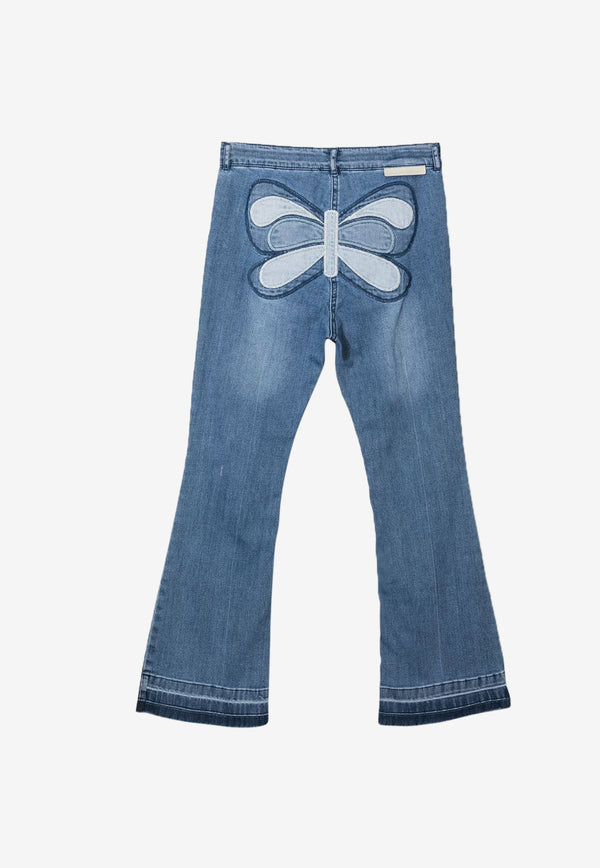 Stella McCartney Kids Girls Embroidered Butterfly Flared Jeans Blue 602746SQK97DENIM