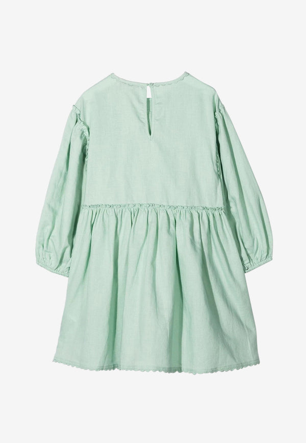 Stella McCartney Kids Girls Butterfly Lace Linen-Cotton Dress Green 602763SQKC9MINT