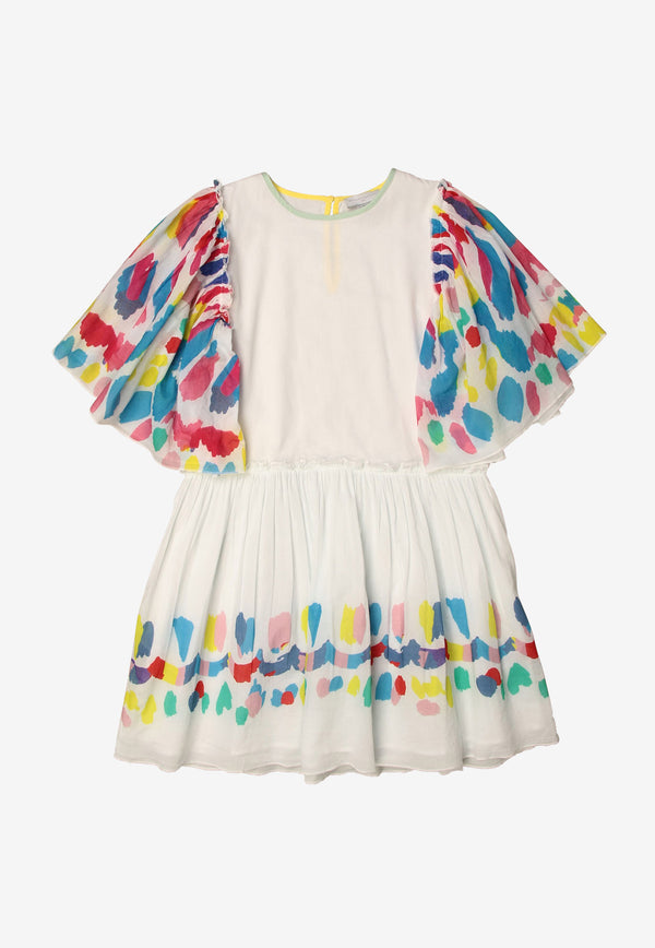Stella McCartney Kids Girls Graphic Print Ruffled Dress White 602783SQKB9WHITE MULTI