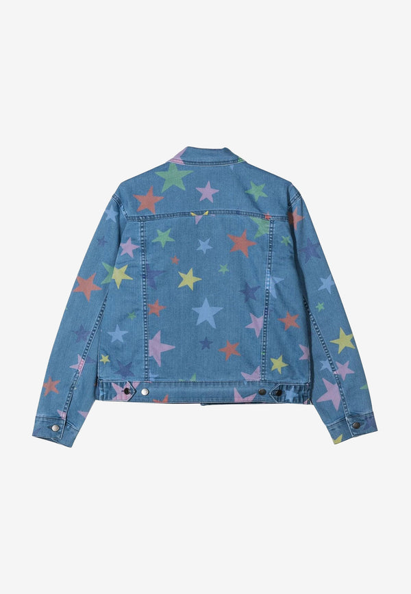 Stella McCartney Kids Girls Star Print Denim Jacket Blue 602792SQKB7DENIM