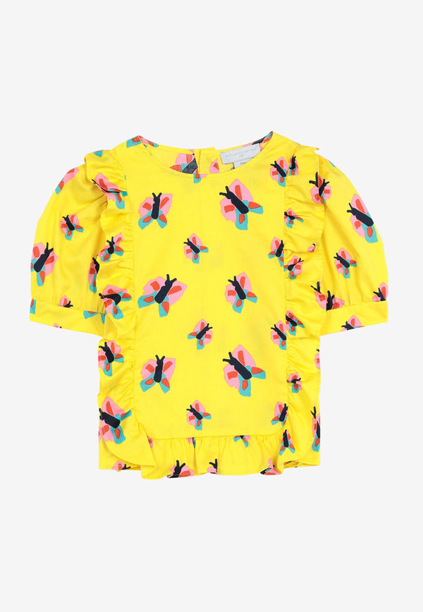 Stella McCartney Kids Girls Butterfly Print Cotton Top Yellow 602824SQKA3YELLOW