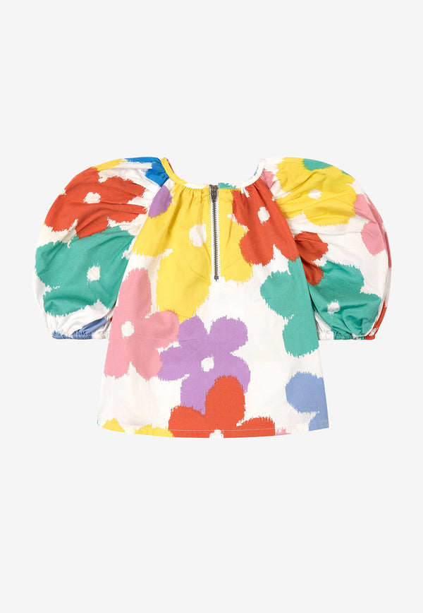 Stella McCartney Kids Girls Floral Print Cotton Top Multicolor 602832SQKA4MULTICOLOUR