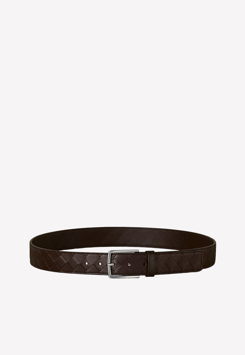 Intrecciato Calfskin Rectangle-Buckle Belt