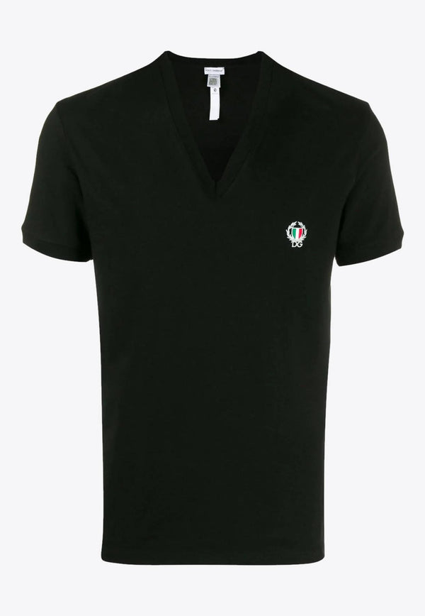 Cotton V-neck T-shirt with DG Patch