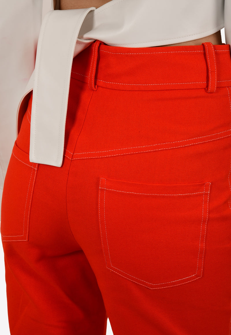 Yoke Detail Exposed Zip Straight-Leg Pants