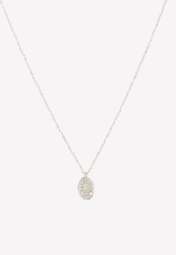 0.16 ct Diamond Oval in White Gold Necklace