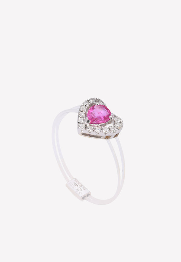 0.28 ct Ruby Diamond Studded Ring with Transparent Band