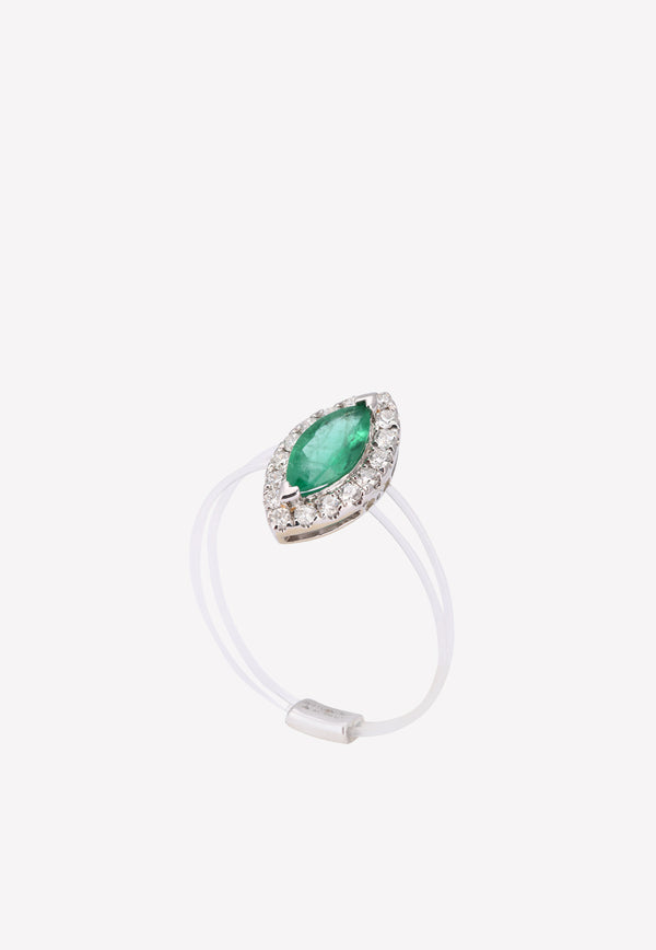 0.46 ct Emerald Diamond Studded Ring with Transparent Band
