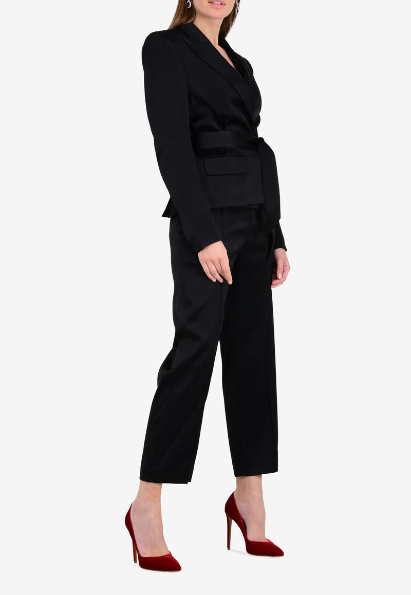 Satin High-Waist Cropped Pants