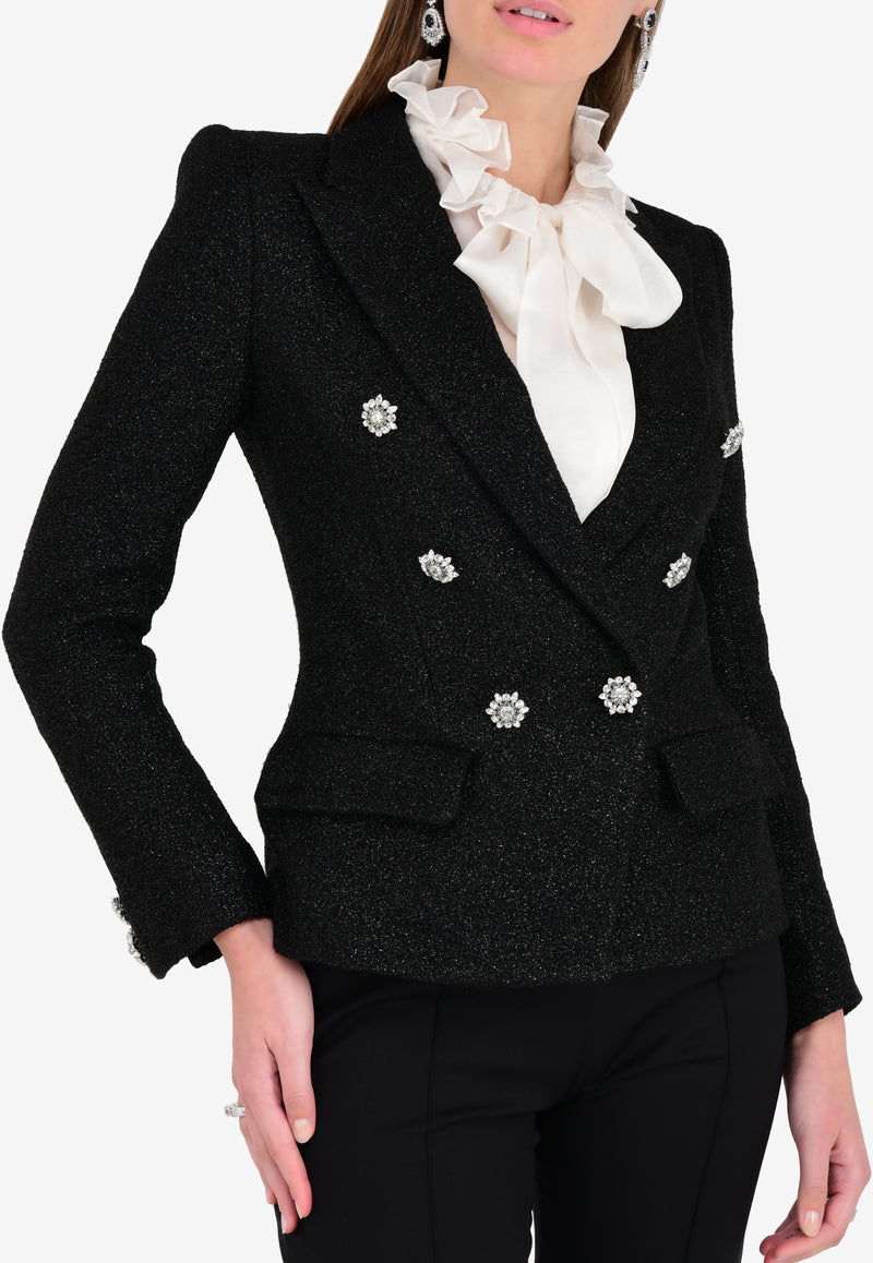 Shimmery Embellished Double-Breasted Blazer