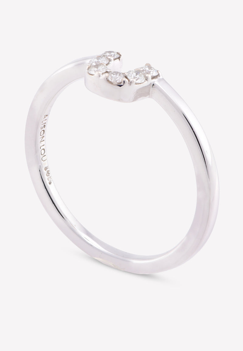 14K White Gold U-Stack Ring with White Diamonds