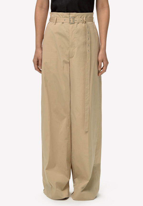 Belted High-Waist Wide-Leg Cotton Pants