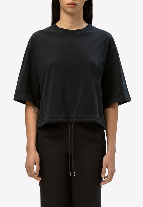 Drawstring Waist Cropped T-shirt in Cotton