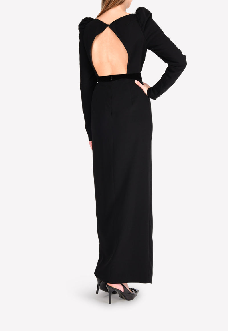 Sonia Sleeved Slit Gown with Back Cut-Out