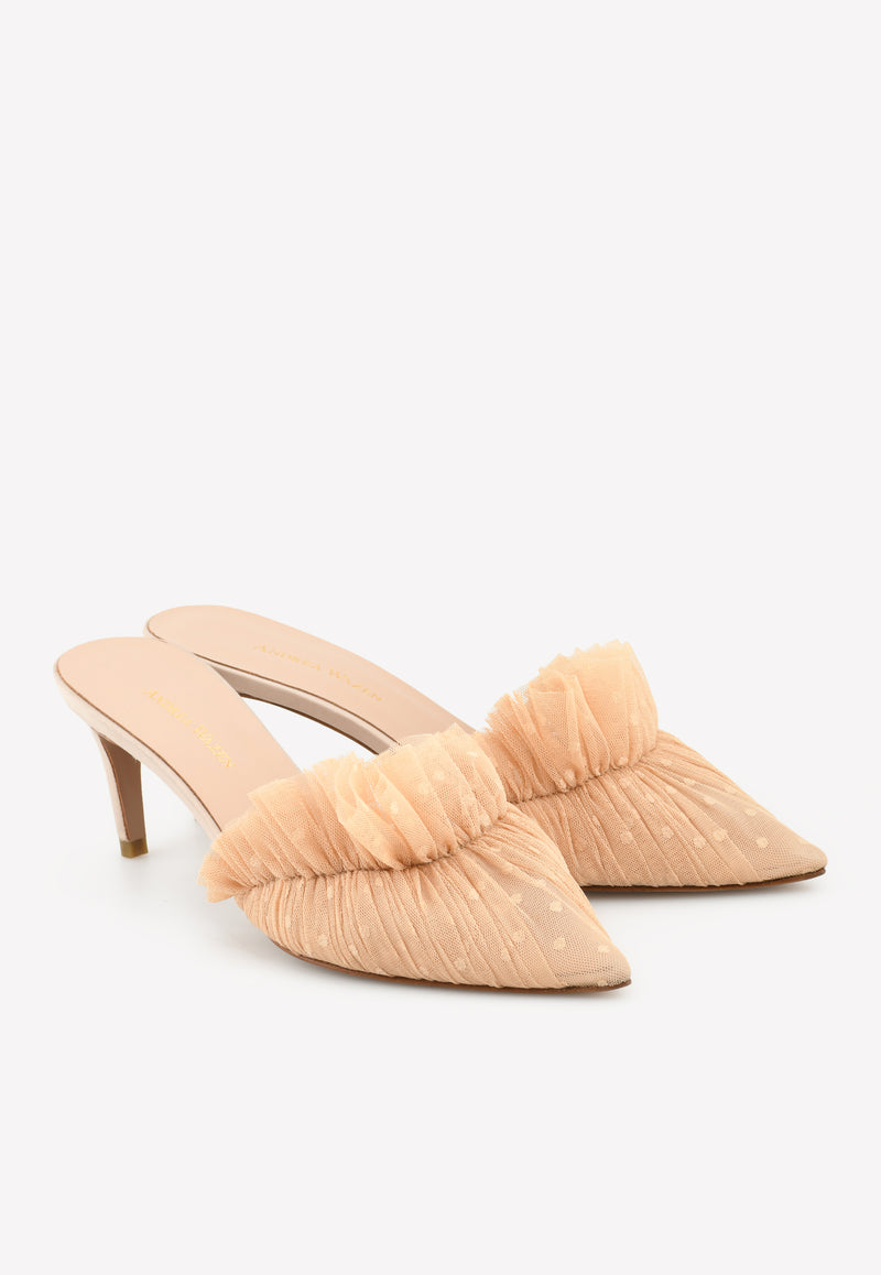 Franca 75 Satin-Tulle Pointed Mules