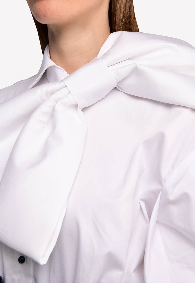 Cotton Shirt with Removable Bow