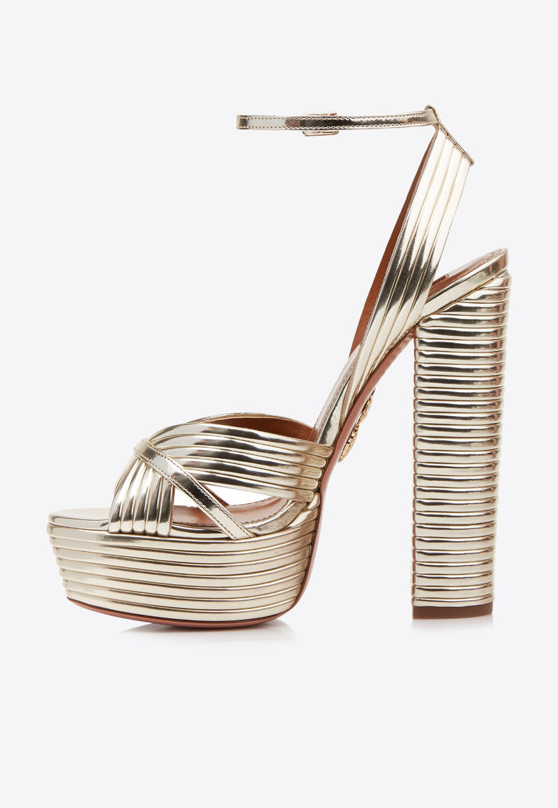 Sundance Plateau 140 Platform Sandals in Mirrored Leather