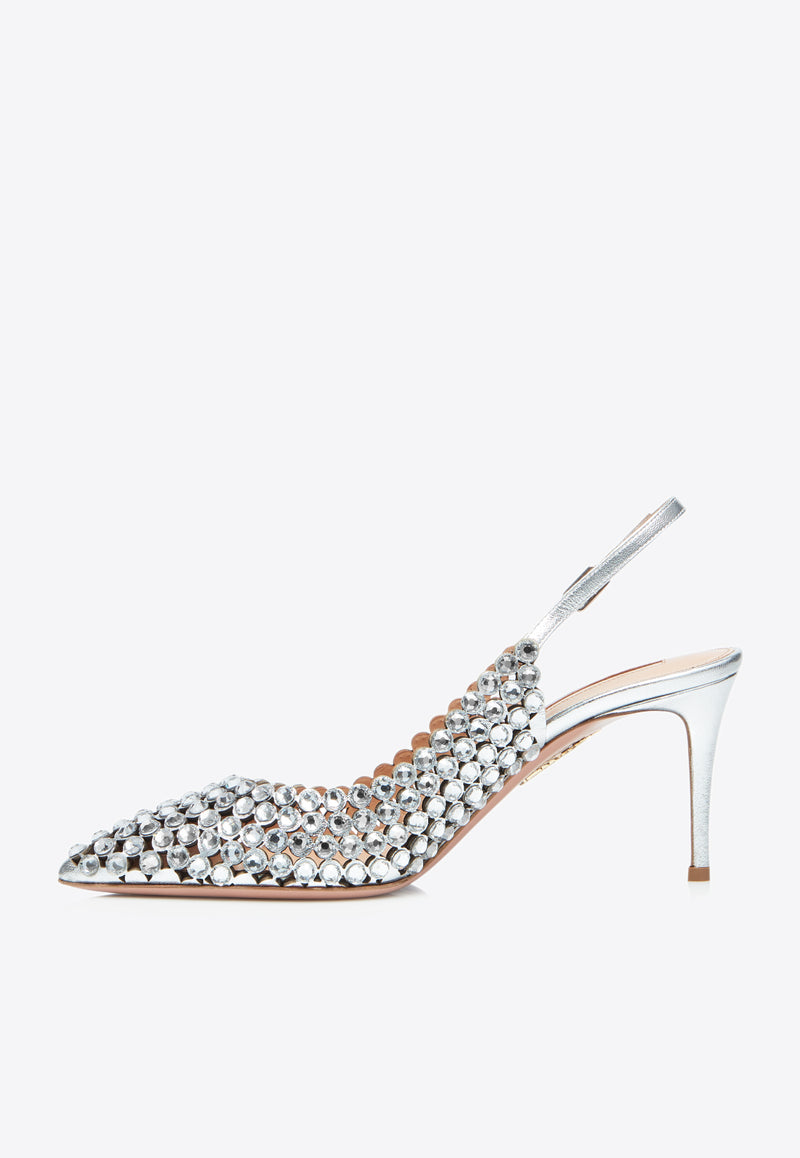 Tequila 75 Metallic Leather Slingback Pumps