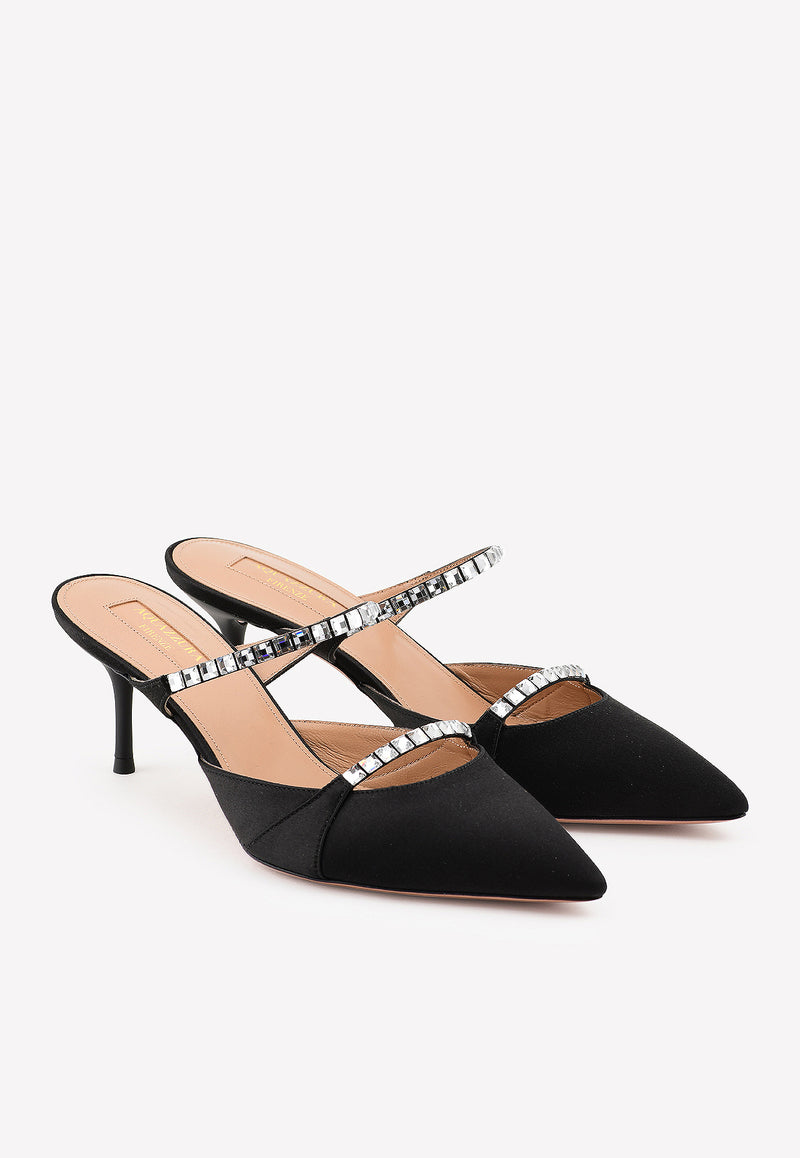 Diamante 60 Satin Mules with Crystal Straps