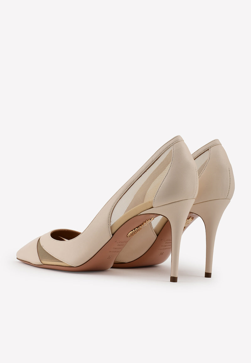 Savoy 85 Nappa Leather-Mesh Pumps