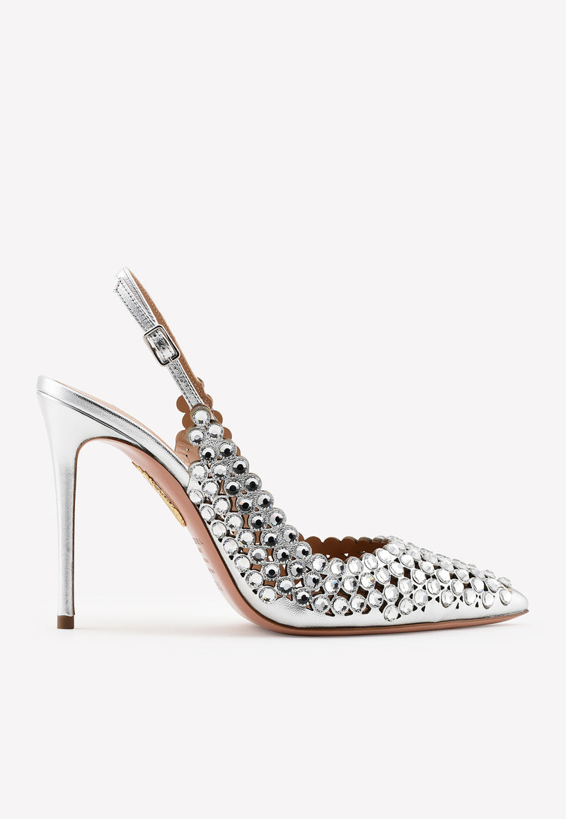Tequila 105 Crystal-Embellished Pumps in Mirrored Leather
