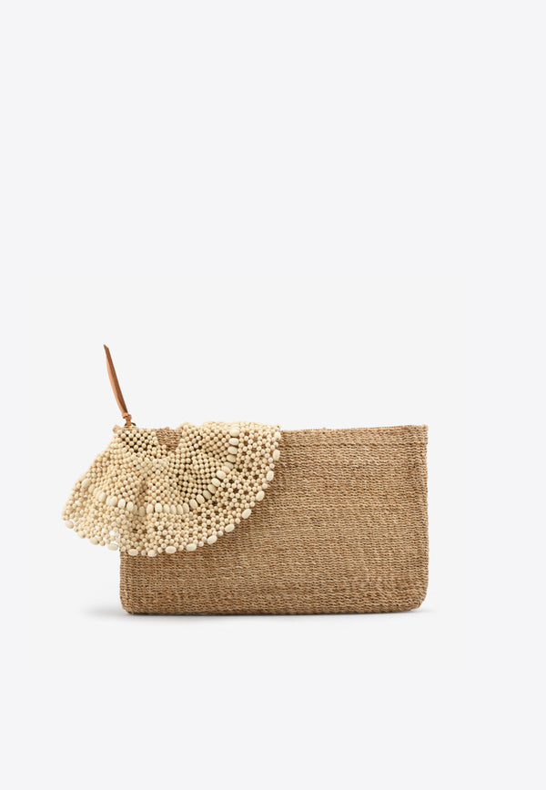 Arruga Raffia Pouch with Beaded Ruffle Detail