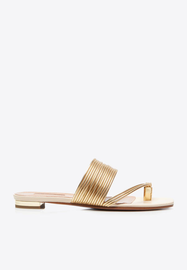 Sunny Flats in Nappa Leather and Metallic Straps