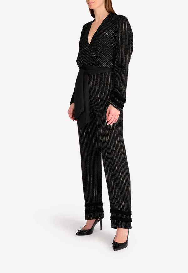 Dusty Striped Plunge Jumpsuit with Bow