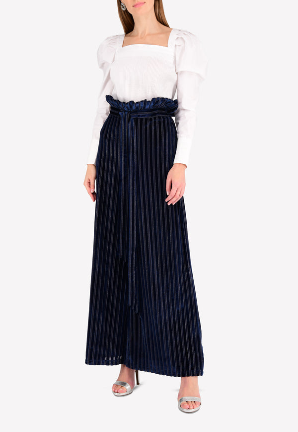 Maui Velvet Striped Wide-Leg Pants
